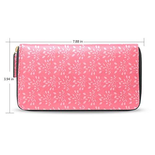 Women LeatherLeaves Pink Wallet Large Capacity Zipper Travel Wristlet Bags Clutch Cellphone Bag