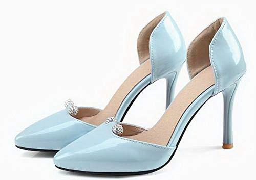 Aalardom Sólido Alto Tacón Sin Mujeres Azul Cordones Vestir De Sandalias Tsmlh007856 rq1wBrtgx