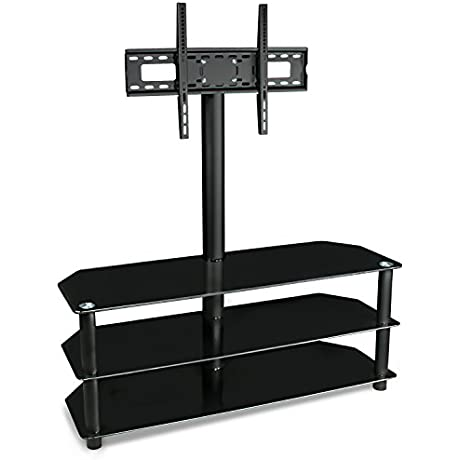 Mount It TV Center Stand With Mount And Glass Shelves For Audio Video Black