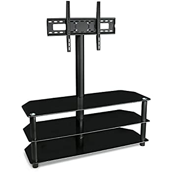 mount it tv stand with mount and glass shelves for audio video black kitchen. Black Bedroom Furniture Sets. Home Design Ideas