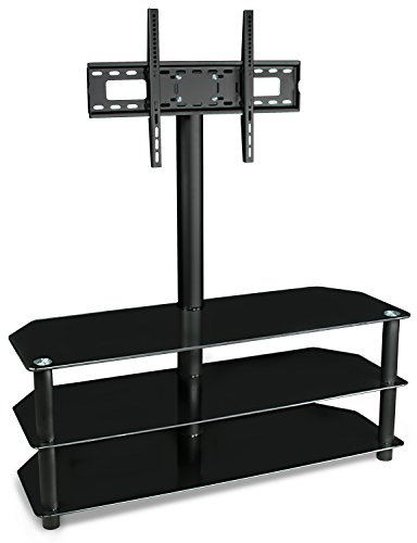 Mount-It! TV Stand with Mount and Glass Shelves for Audio Video - Black by Mount-It!
