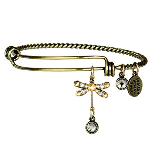 Anne Koplik Dragonfly Dream Charm Bangle Bracelet with Swarovski Crystals ()