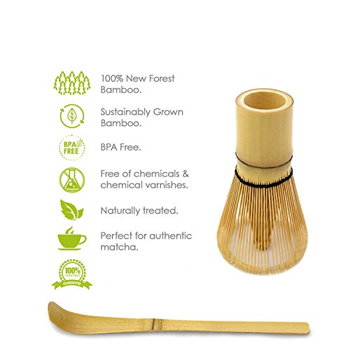 Bamboo Whisk (Chasen) and Hooked Bamboo Scoop (Chashaku) - Matcha Tea Whisk for Matcha Tea Preparation - MatchaDNA Brand - Traditional Matcha Whisk Made from Durable and Sustainable Golden Bamboo by MatchaDNA (Image #4)