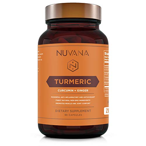 Turmeric Curcumin with Bioperine and Ginger 1810mg - Pain Relief, Joint Support, Anti-Inflammatory, Antioxidant Supplement with 95% Standardized Curcuminoids - Non-GMO, Gluten Free - 90 Vegan Caps