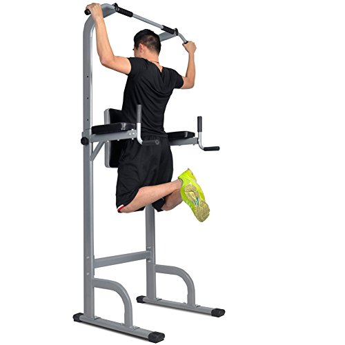 CRYSTAL FIT VKR Vertical Knee Raise Dip Station Power Tower Pull Up Bar Tower Station, Chin Up Bars, Height Adjustable Sturdy Frame Non Slip End Caps