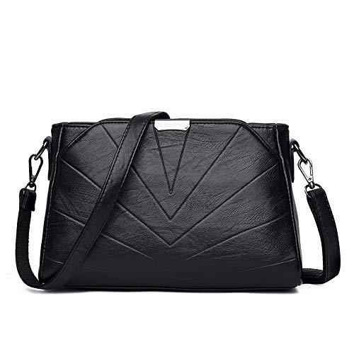 LANDONA Les nouvelles épaules avec un petit sac à dos plis épaule en peau de mouton sac à main en cuir de mode dames de la mode Messenger Bag - Noir