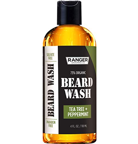 (Beard Wash Shampoo by Ranger Grooming Co by Leven Rose, Sulfate Free Natural Beard Cleanser & Conditioner for Men, Tea Tree & Peppermint for Growth & Thickening, Paraben Free 4 Oz)