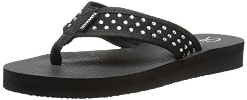 Skechers Cali Women's Meditation-Rhineston Flip Flop,Black,9 M US
