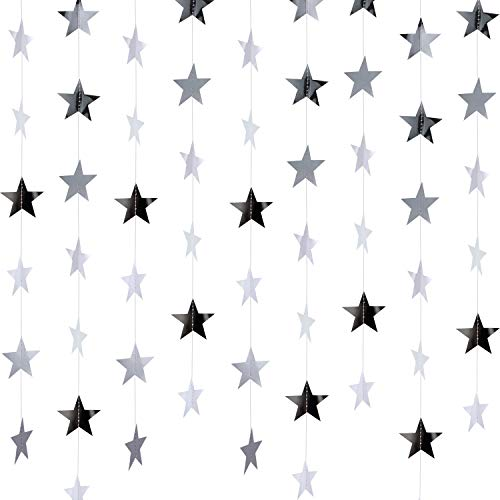 130 Feet Golden Glitter Star Paper Garland Hanging Decoration for Wedding Birthday Christmas Festival Party (Silver, Set of A) -