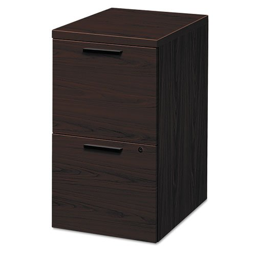 HON 10500 Series Mobile File/File Pedestal - 15.8quot; x 22.8quot; x 28quot; - Wood - 2 x File Drawer(s) - Legal, Letter - Security Lock, Leveling Glide, Ball-bearing Suspension - Mahogany ()