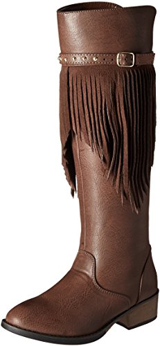 Kenneth Cole REACTION Girls' Downtown Fringe-K Boot, Brown, 6 M US Big Kid