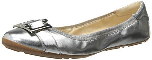 Nine West Women's Justinna Synthetic Ballet Flat, Silver/Silver, 11 M US