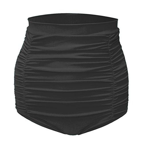 aamilife-womens-vintage-swim-short-high-waist-ruched-bikini-bottom-black-xl