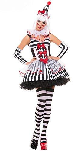 Womens Freak show Killer Clown Tutu Dress and Hat Halloween Tights Adult Costume (Clown Tutu Dress)