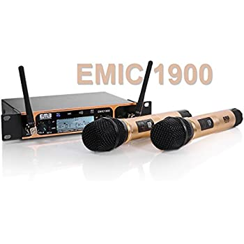 emb professional emic1900 uhf dual 2x wireless microphone system for stage dj. Black Bedroom Furniture Sets. Home Design Ideas