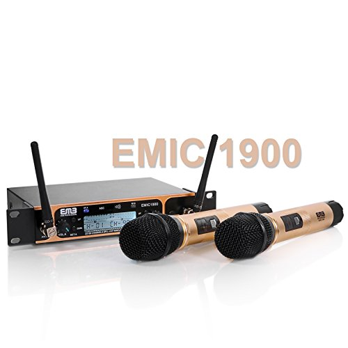 EMB Professional EMIC1900 UHF Dual 2x Wireless Microphone System For Stage/DJ Performance/Meeting/Show/Party/Karaoke/Teaching/Presentation