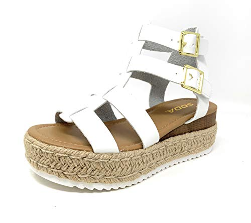 SODA Embassy Womens Gladiator Espadrille Criss Cross Double Buckle Open Toe Sandals (6.5 M US, White)