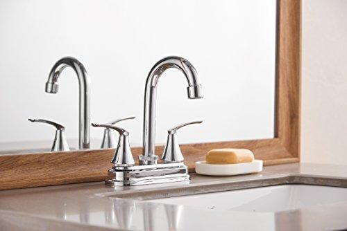 LIDANDA Swivel High Arch Spout 2-handle Lavatory Faucet Brushed Chrome Bathroom Sink Faucet
