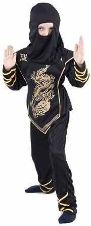 Disfraz Ninja - para niño - negro y dorado negro 7-9 Años ...