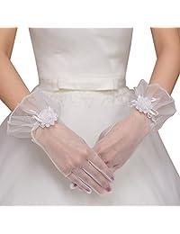 BessWedding Women's Short Wrist Bridal Lace Gloves Formal Wedding Gloves White