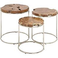 Deco 79 59206 Wood Teak Nesting Tables (Set of 3), 24/21/19