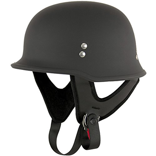 Outlaw T-75 German Style Flat Black Half Helmet - 2X-Large by Outlaw