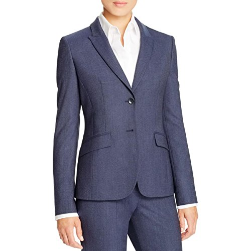 Womens Designer Business Suits (Hugo Boss Womens Faux Pockets Non-Vented Two-Button Suit Jacket Navy 2)