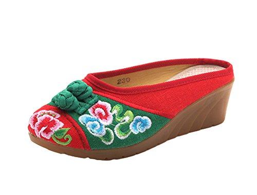 Zapatilla De Cuña De Punta Redondeada Multicolor De Avacostume Mujer's Ethnic Style Bordado Rojo