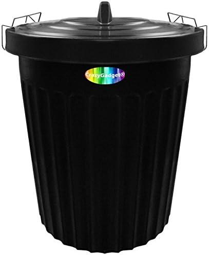 100 litros 100L tamaño Extra grande negro de plástico cubo de la basura papelera de jardín Clip de bloqueo tapa Heavy Duty: Amazon.es: Jardín