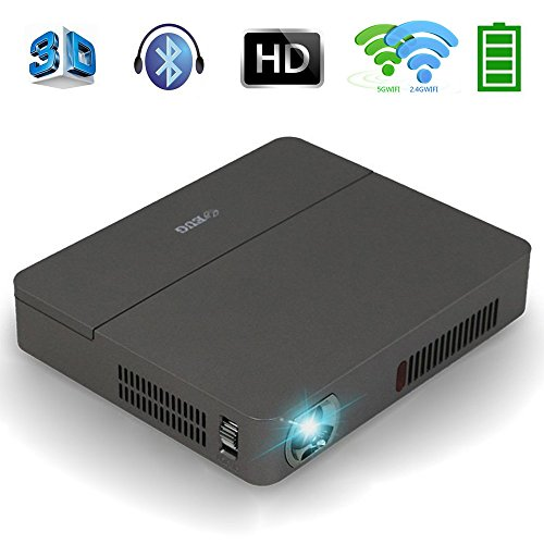 Mini DLP Projector Wireless 3D - Bluetooth 4.0 Dual WiFi 4K Airplay Miracast Built-in Battery Multimedia, for Home Cinema Theater Business Education Office School PPT Presentation Outdoor Camping