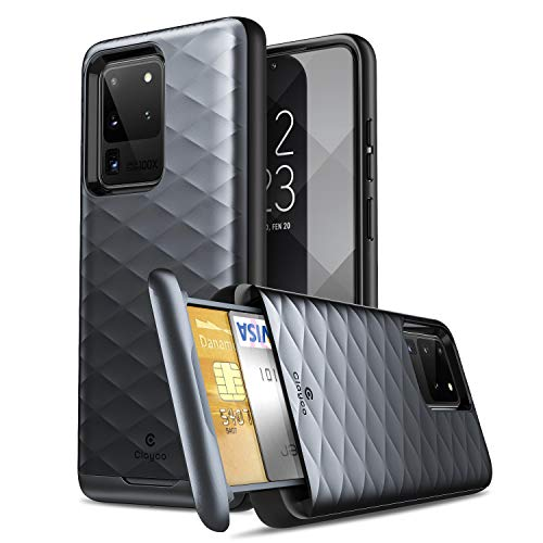 Clayco Galaxy S20 Ultra Case, [Argos Series] Premium Hybrid Protective Wallet Case for Samsung Galaxy S20 Ultra (Built-in Credit Card/ID Card Slot) (Black)