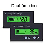 Battery Capacity Tester & Voltage Meter with LCD Display Backlit, Waterproof 12V 24V 36V 48V Lead Acid Battery Indicator Voltmeter Monitor Detector for Car Vehicle