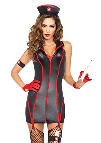 Leg Avenue Women's 4 Piece Heart Stoppin' RN Nurse Costume, Black/Red, Small for $<!--$37.81-->