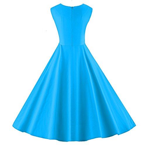 LUOUSE vestidos 1950 Retro Rockabilly vintage cuello cuadrado V078-Celeste