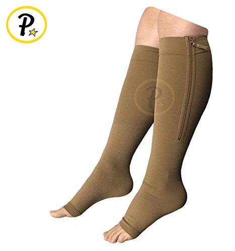 Presadee True Medical Grade 20-30 mmHg Compression Open Toe Zipper Leg Calf Circulation Veins High Quality Premium Socks (2XL, Beige) by Presadee (Image #1)
