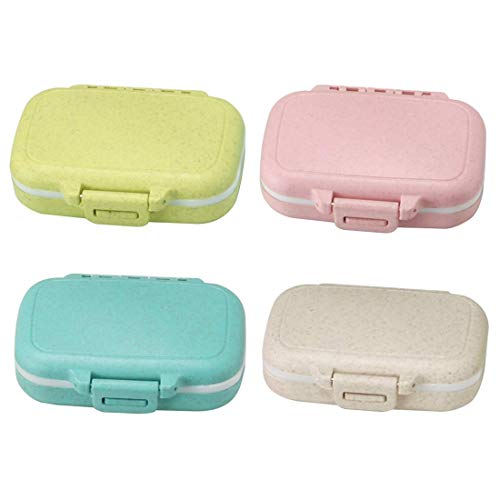 Meta-U Small Wheat-Straw Pill Box Supplement Case for Pocket or Purse - 3 Removable Compartments Travel Medication Carry Case - Daily Vitamin Organizer Box (Green+Pink+Blue+Beige) from Meta-U