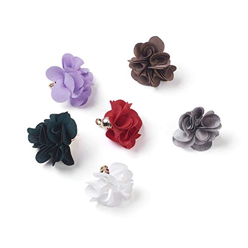 - Kissitty 50-Piece Random Mixed Color Cloth Flower Charms 25~30mm Fabric Floral Petal Tassel with Acrylic Caps Key Chian Earring Bracelet Necklace Jewelry Making Findings