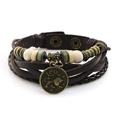 Handmade Genuine Real Leather Bracelet with Constellation Zodiac Sign Logo Charms, Beads, Button, Adjustable Size, Unisex