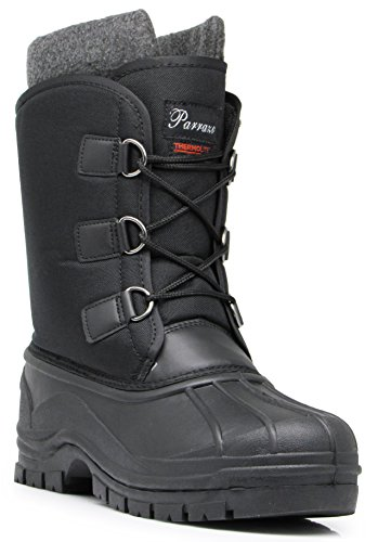 ALP Men's Winter Heavy Duty Lace Up Water Resistant Snow Boots Removable Thermos Lining Rubber Sole Work Shoes (7.5 D(M) US, Black) (Alpine Steel Skis)