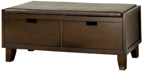 Furniture of America Hawthorne Leatherette Seat Storage Entryway Bench, Walnut