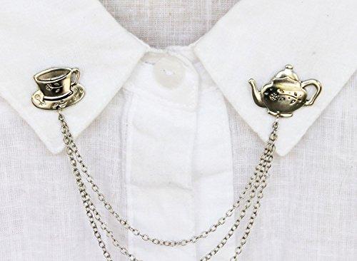 tea pot collar pins silver, collar brooches, collar clips