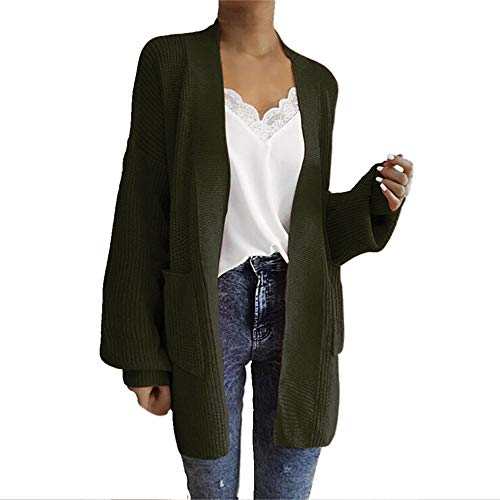 iFOMO Lady's Long Sleeve Solid Loose Puff Sleeve Cardigan Sweaters for Women(Army Green,One Size)