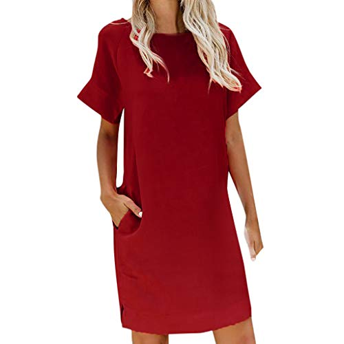 (Sunhusing Women's Casual Solid Color Short Sleeve Pocket Dress Ladies Round Neck Mini Sundress Red)
