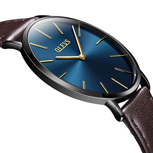 Ultrathin 6.5mm Cheap Watches for Mens on Sale Clearance, Black/Blue Leather Strap Quartz Wrist Watches, Young Fashion Business Casual Waterproof Male Watches, Minimalist Brand New Clock Watches