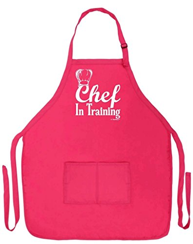 ThisWear Chef in Training Funny Apron for Kitchen BBQ Barbecue Cooking Baking Grilling Bacon Two Pocket Apron for Culinary Arts School Student Graduate (Junior Executive Chef Hat)
