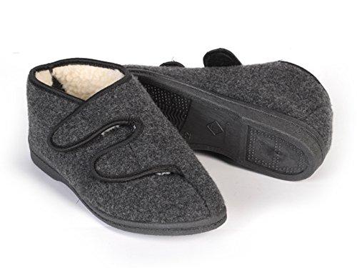 Natural Line - Botas de Fieltro para hombre Gris - Grey (Velcro)
