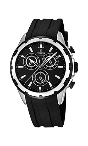 Festina F16838/2 Men's Watch Silver-Tone Chronograph Sport Black Rubber Strap