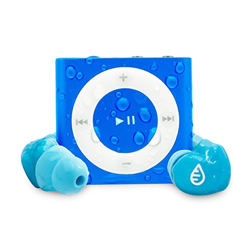 Waterfi Waterproof iPod Shuffle Swim Kit with SwimActive Waterproof Headphones, Durable Zip Case, Signature PlatinumX Waterproofed iPod and 2 Year Warranty (Blue)