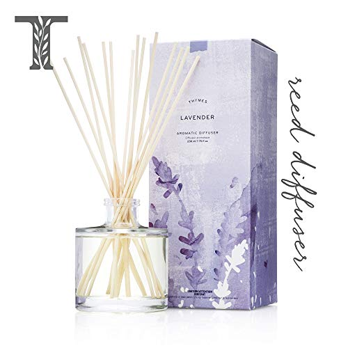- Thymes - Lavender Aromatic Oil Reed Diffuser - Gift Set with Premium Sticks, Glass Bottle and Scented Oil - 6.5 oz