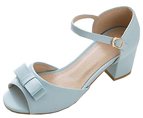 Easemax Womens Sweet Bows Sandali A Tacco Medio Con Cinturino Alla Caviglia Blu